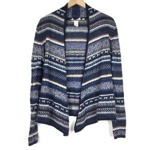 LOGG H&M Open Cardigan Sweater M Mohair Fair Isle